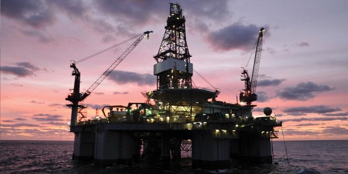 Night shot of offshore oil platform