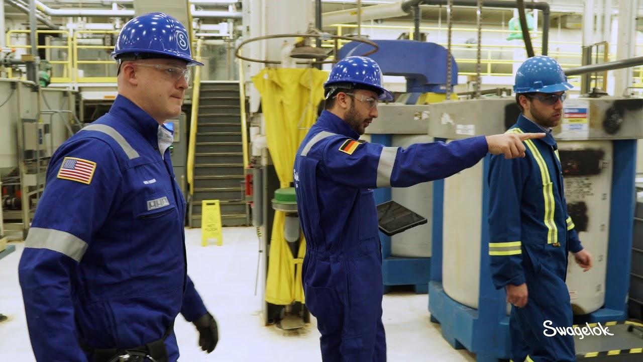 three technical advisors helping identify gas leak