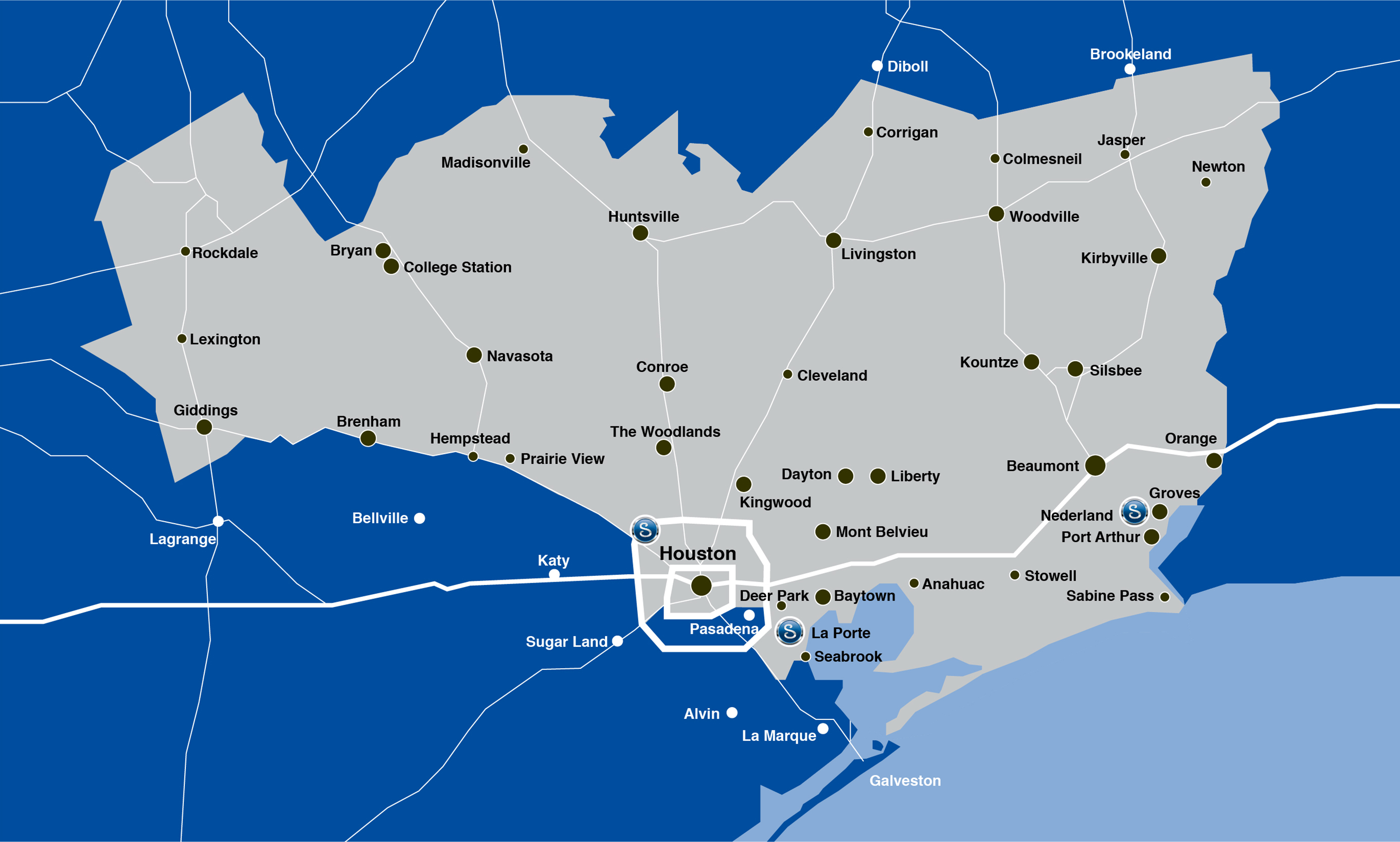 map of Swagelok Southeast Texas geographic footprint